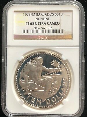 1973 FM Barbados NEPTUNE Silver $10 Coin NGC Certified PF 68 ULTRA CAMEO KM17a