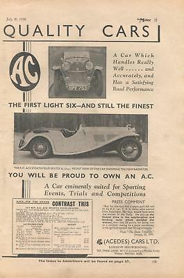 A C (Acedes) motor cars - magazine advert from 1935