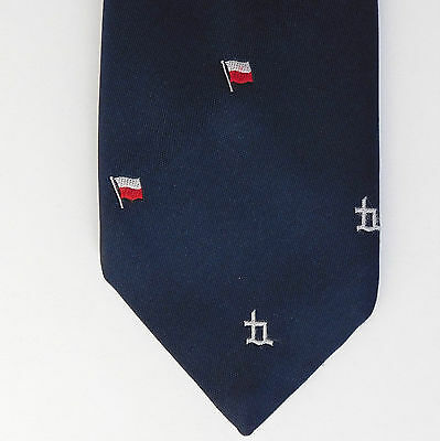 Unidentified corporate club tie White red striped flag logo emblem Vintage 1980s
