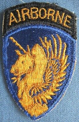 """WWII US Army 13th Airborne Division shoulder patch with attached """"AIRBORNE"""" tab"""