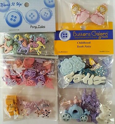 FANTASY GIRL 1 Dress It Up Buttons Galore Craft Tooth Fairy Princess Cinderella
