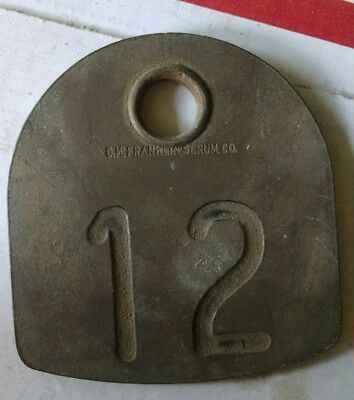 Antique Brass Cow Ear Tag #12 Old Farm Collectible