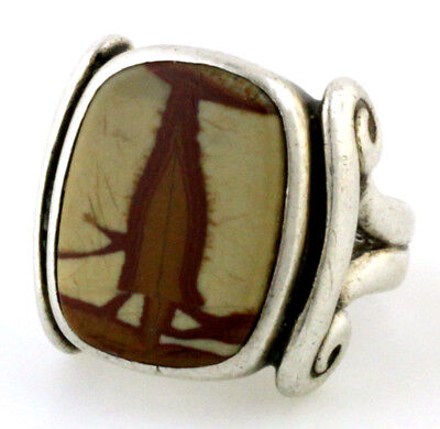 Vintage 1930's Era Arts And Crafts  Man's  Stone Ring Handmade Sterling Silver