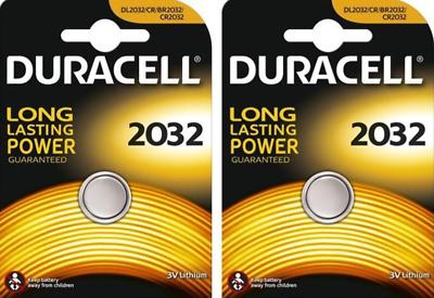 2 x Duracell CR2032 3V Lithium Coin Cell Battery 2032 Button DL/CR  -  [2 Packs]