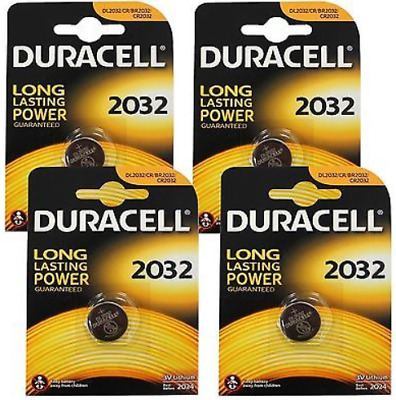 4 x Duracell 2032 Lithium Coin Cell 3V Battery Button CR2032 DL/CR  -  [4 Packs]