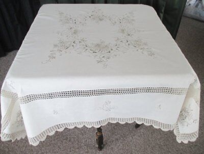 Pretty Tablecloth-Madeira Hand Embroidery & Hand Crochet-Unused
