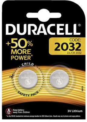 2 x Duracell 2032 Lithium Button 3V Battery Coin Cell CR2032 DL/CR - Twin Pack