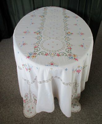 "LARGE TABLECLOTH with HAND EMBROIDERY & HAND CROCHET-62""x 98"""
