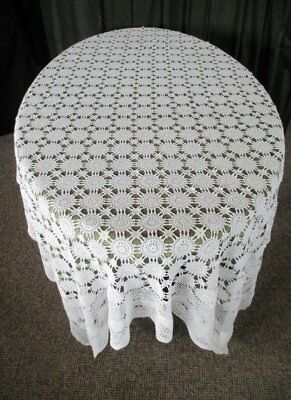 "VINTAGE TABLECLOTH ALL HAND CROCHET - LARGE - WHITE -  58"" x 90"""