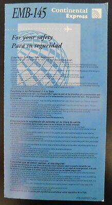 Continental Airlines Express Safety Card EMB-145 PN 25600017-004 1998
