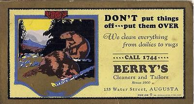 Berrys Dry Cleaners & Tailors Advertising Ink Blotter 155 Water St AUGUSTA MAINE