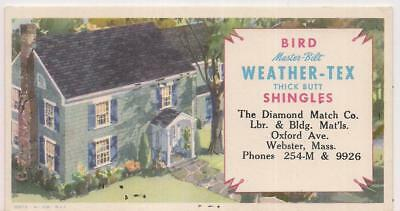 Bird Master-Bilt Weather-Tex Thick Butt Shingles WEBSTER MA Advtsg Ink Blotter