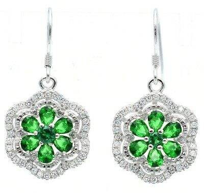Emerald & White Topaz 925 Solid Sterling Silver Earrings Jewelry