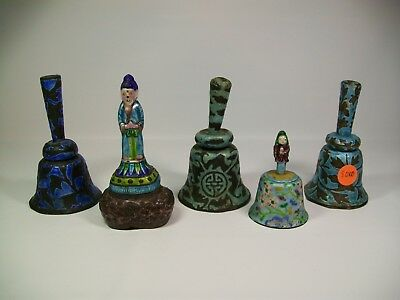 Lot of 5 Antique Chinese Enameled Bells Including Figures [8010]