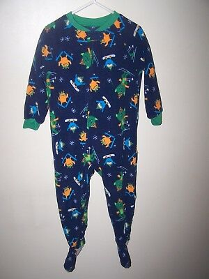 Child of Mine Carters toddler boy sleeper SKIING MONSTERS zip up footed SIZE 3T