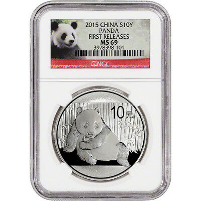 2015 China Silver Panda (1 oz) 10 Yuan - NGC MS69 - First Releases