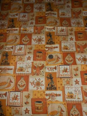 """2 1/8 Yds Vintage Retro 1960s Yellow & Brown Kitchen Curtain Fabric 36"""" Wide"""