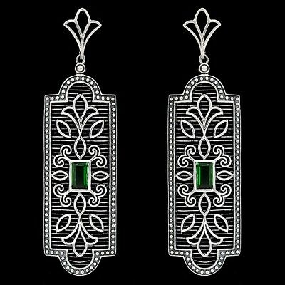 Emerald 925 Solid Sterling Silver Art Deco Filigree Earrings Jewelry