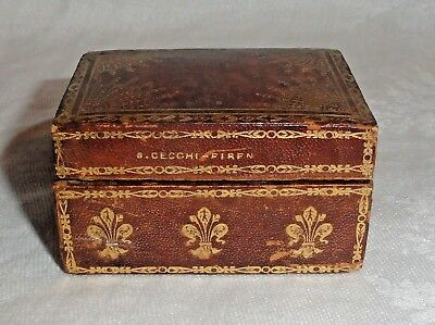 G Cecchi-Firenze Italian Leather Box w/Gold 19th Century Miniature Playing Cards