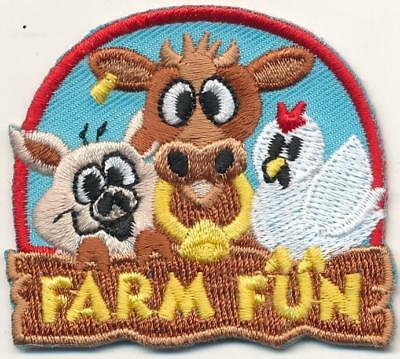 Girl Boy Cub FARM FUN Cow Patches Crests Badges SCOUTS GUIDE visit tour day pig