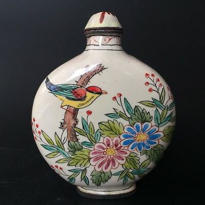 Ancient Rare Chinese Cloisonne Handwork Paint Birds & Flowers Old Snuff Bottle