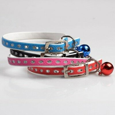 Designer Leather Cat Collar with Safety elastic and bell - Multiple colour
