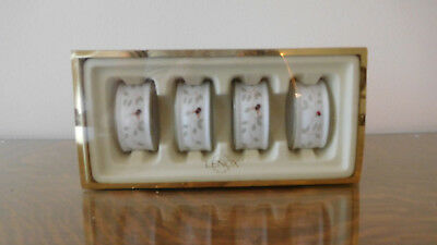 Lenox Butterfly Meadow Lady Bug & Bee China Ceramic Napkin Rings FOUR NEW IN BOX