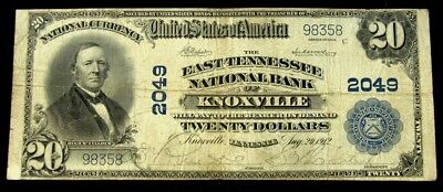 1902 $20 National - East Tennessee Nat'l Bank of Knoxville, TN - Fine - FR# 654
