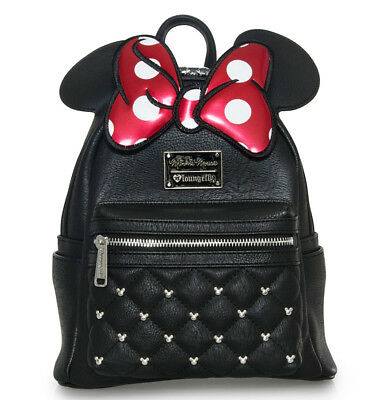 $ LOUNGEFLY DISNEY School Bag Backpack MINNIE MOUSE Faux Leather QUILTED BLACK