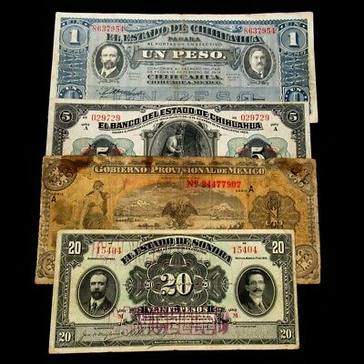 4x Mexico Revolutionary Era Notes - Average Circulated or Better