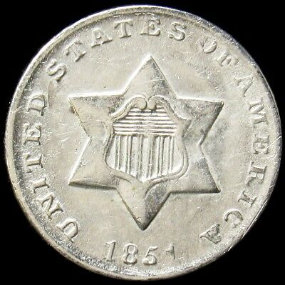 1851 Silver Three Cent Piece - AU (Details) - 3c About Uncirculated