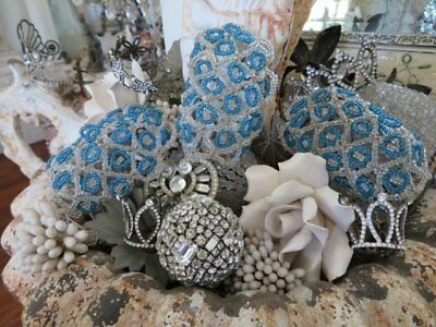 3 GORGEOUS Small OLD BEADED DOME LIGHT SHADE BULB COVERS Clear & Blue Beads