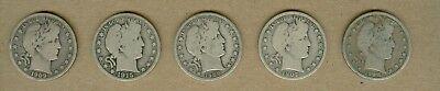 Five Different U.S. Barber Half Dollar Silver Coins!!!