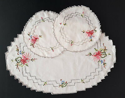 DOILIES SET of 3 ~ AUSTRIAN EDELWEISS, HIGH TEA, FRENCH, COUNTRY, SHABBY CHIC