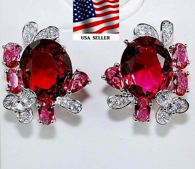 8CT Ruby & White Topaz 925 Solid Genuine Sterling Silver Earrings Jewelry