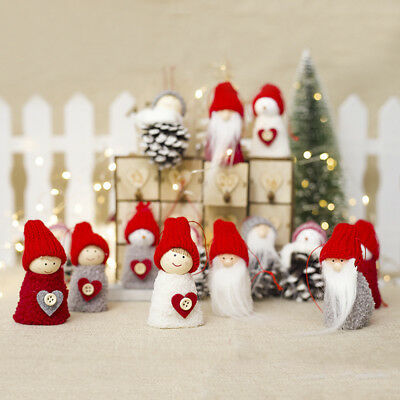 3pcs Mini Christmas Doll Toys Plush Santa Claus Pine Cone Xmas Hanging Ornament