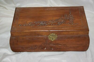 Vintage Wooden Oriental Carved Jewelry Box Satin Lining Scenic