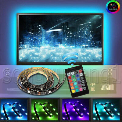 USB Powered RGB 5050 LED Light Strip Computer TV Backlight Remote Waterproof Kit
