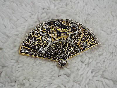 Spanish Fort Damascene Fan Pin (D9)