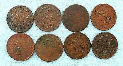 Lot of 8 1800's Quebec and New Brunswick tokens