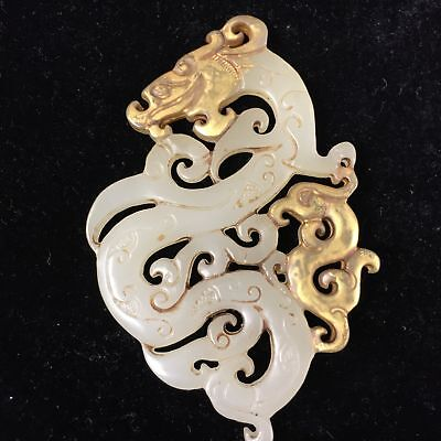 Old Rare Collectible White jade Handwork carve dragon gold statue amulet Pendant