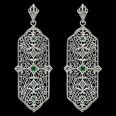 Emerald & Opal 925 Solid Sterling Silver Filigree Earrings Jewelry