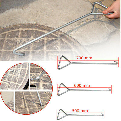 50/60/70cm Carbon Steel Manhole Sewer Cover Hook Clasp Handle Tool Anti-rust