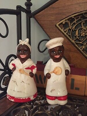 Vintage Black Mammy and Uncle Moses Salt and Pepper shakers