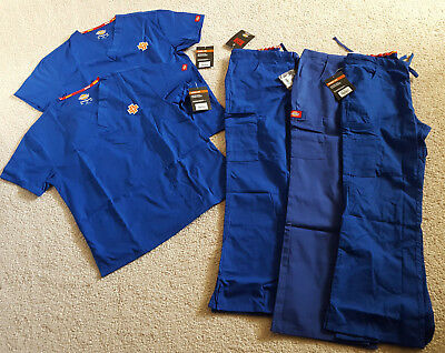 NWT! Dickies Women's XS EDS Scrub Tops Bottoms Sets Lot Blue Logo Missy Fit