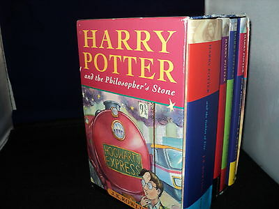 Harry Potter Box Set Complete Set Of 4 Hardback Bloomsbury Boxed -  Dust Covers