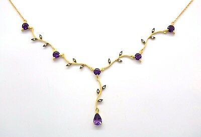 Necklace Amethyst & Saat Pearl 925 Sterling Silver Gold Plated