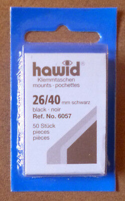 HAWID STAMP MOUNTS BLACK Pack of 50 Individual 26mm x 40mm - Ref. No. 6057