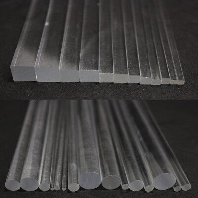 100/200/300mm Long Clear Acrylic Plexiglass Round Rod Circular Square Bar Strip