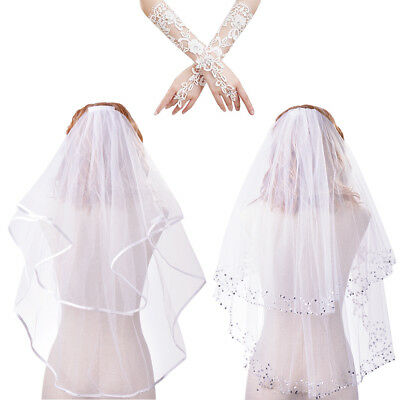 Wedding Bridal Veil 2 Tiers Elbow Edge with Attached Comb + Fingerless Gloves